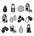 Almonds almond milk icons set vector image vector image