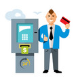 atm and businessman flat style colorful vector image