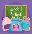 back to school chalkboard and backpacks vector image vector image