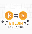 bitcoin to dollar currency exchange vector image vector image