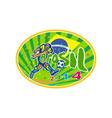 Brasil 2014 Soccer Football Player Oval Retro vector image vector image