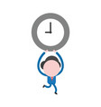 businessman running and holding up clock time vector image