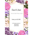 card with garden flowers roses lilies hydrangea vector image vector image