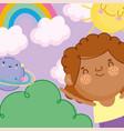 children day cartoon little boy rainbow planet vector image vector image