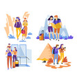 couple with kid travelling carrying backpacks and vector image vector image