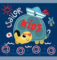 cute cartoon turtle sailor vector image vector image