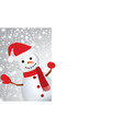 cute snowman holding an empty space for text vector image vector image