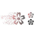 disappearing pixel halftone flower icon vector image vector image