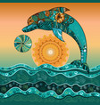 dolphin in the sea in the sun vector image vector image