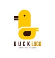 Duck logo template creative badge with yellow