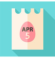 easter piece paper with date 5 april and egg vector image