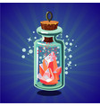 fantasy catoon bottle with crystal bright magic vector image vector image