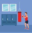 fitness man boxing vector image