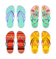 flip-flops different styles summer shoes vector image