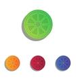 Fruits lemon sign Colorfull applique icons set vector image