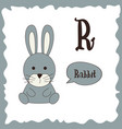funny cartoon animals r letter cute alphabet for vector image vector image