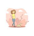 girl walking with her dogs in park person vector image