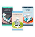 isometric futuristic architecture mobile screens vector image