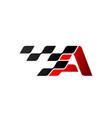 letter a with racing flag logo vector image vector image