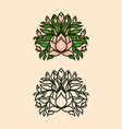 magnolia bush icon with flowers and buds vector image vector image