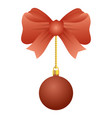merry christmas ball with bow hanging vector image vector image