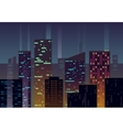 Night city buildings with glowing windows at dusk vector image vector image