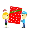 Postman Delivering A Big Present Gift to A Woman vector image