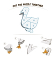 Puzzle game for chldren goose vector image vector image