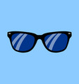realistic sunglasses on a blue background flat vector image