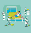 robots doing housework happy people relax vector image vector image