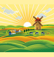 rural landscape with a windmill village and herd vector image vector image