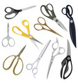 scissors set a collection colored scissors for vector image vector image