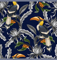 seamless pattern with birds and tropical leaves vector image
