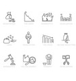 set black and white bankruptcy icons vector image
