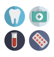 set medicine tooth pill test tube first aid vector image