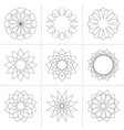set of geometric shapes in line style vector image