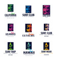 set of surfing logo and emblems for surf club or vector image vector image