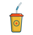 soft drink in a yellow paper cup icon vector image