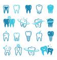 Stylized monochrome pictures of teeth dental vector image