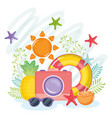 summer holiday poster with camera and icons vector image