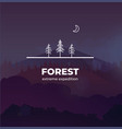trendy forest logo badge in outline style vector image