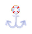 white nautical anchor glossy 3d blue rounded vector image vector image