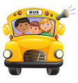 yellow bus with kids vector image vector image