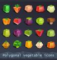 polygonal vegetable icons vector image