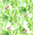 Seamles watercolor cactus background vector image