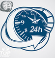 3d round 24 hours clock with arrow around simple vector image vector image
