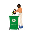 african american woman throwing organic waste into vector image vector image