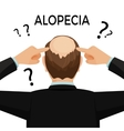 Alopecia concept Man is showing his hairloss nape vector image vector image