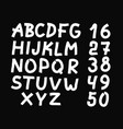 and drawn letters and numbers font bold vector image