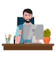 angry man sitting on an office chair at a computer vector image vector image